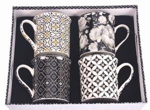 4 Mokken met bloemmotief Zwart & Wit  Set/4