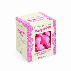 Meringue Drops White Chocolat & Raspberry  100 gram