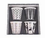 4 Espresso kopjes Zwart & Wit Set/4